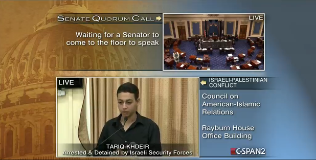 CSPAN cut from Tariq Abukhdeir's live, moving testimony of Israeli abuse in Jerusalem to cover Barbara Boxer's incoherent pro-Israel rant to a mostly empty Senate chamber. (screenshot)
